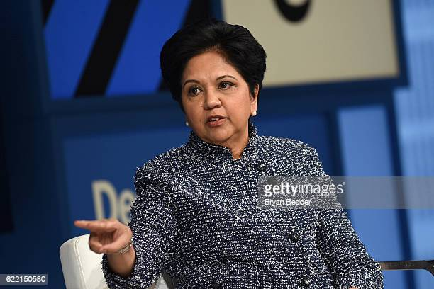 Chairman and CEO of PepsiCo Indra Nooyi speaks at The New York Times DealBook Conference at Jazz at Lincoln Center on November 10 2016 in New York...