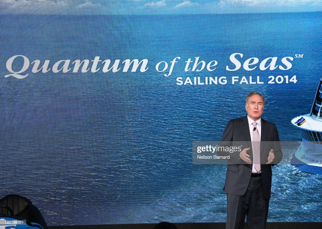 Chairman and CEO of Royal Caribbean Cruises Richard D. Fain speaks at the Royal Caribbean International reveals groundbreaking Quantum-Class ships on April 16, 2013 in New York City.