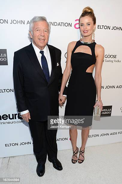 Chairman and CEO of The Kraft Group Robert Kraft and actress Ricki Noel Lander attend the 21st Annual Elton John AIDS Foundation Academy Awards...