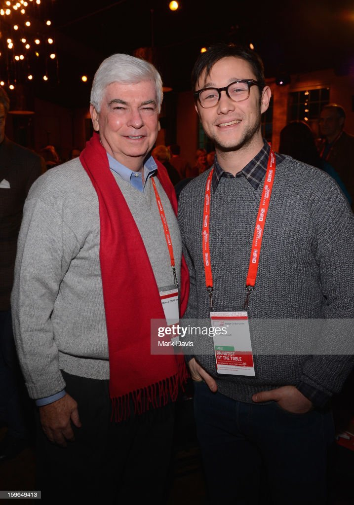 Chairman and CEO of the Motion Picture Association of America <a gi-track='captionPersonalityLinkClicked' href=/galleries/search?phrase=Christopher+Dodd&family=editorial&specificpeople=207036 ng-click='$event.stopPropagation()'>Christopher Dodd</a> and actor <a gi-track='captionPersonalityLinkClicked' href=/galleries/search?phrase=Joseph+Gordon-Levitt&family=editorial&specificpeople=213632 ng-click='$event.stopPropagation()'>Joseph Gordon-Levitt</a> attend An Artist At The Table, a benefit for the Sundance Institute during the 2013 Sundance Film Festival at The Shop on January 17, 2013 in Park City, Utah.