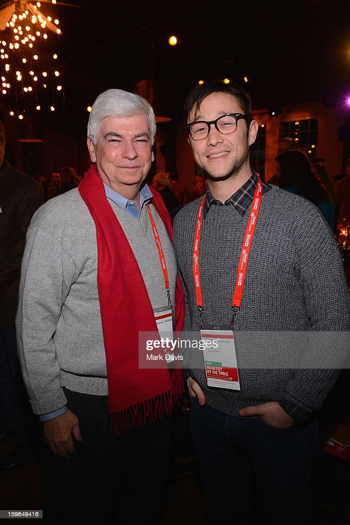 Chairman and CEO of the Motion Picture Association of America <a gi-track='captionPersonalityLinkClicked' href=/galleries/search?phrase=Christopher+Dodd+-+Politician&family=editorial&specificpeople=207036 ng-click='$event.stopPropagation()'>Christopher Dodd</a> and actor <a gi-track='captionPersonalityLinkClicked' href=/galleries/search?phrase=Joseph+Gordon-Levitt&family=editorial&specificpeople=213632 ng-click='$event.stopPropagation()'>Joseph Gordon-Levitt</a> attend An Artist At The Table, a benefit for the Sundance Institute during the 2013 Sundance Film Festival at The Shop on January 17, 2013 in Park City, Utah.