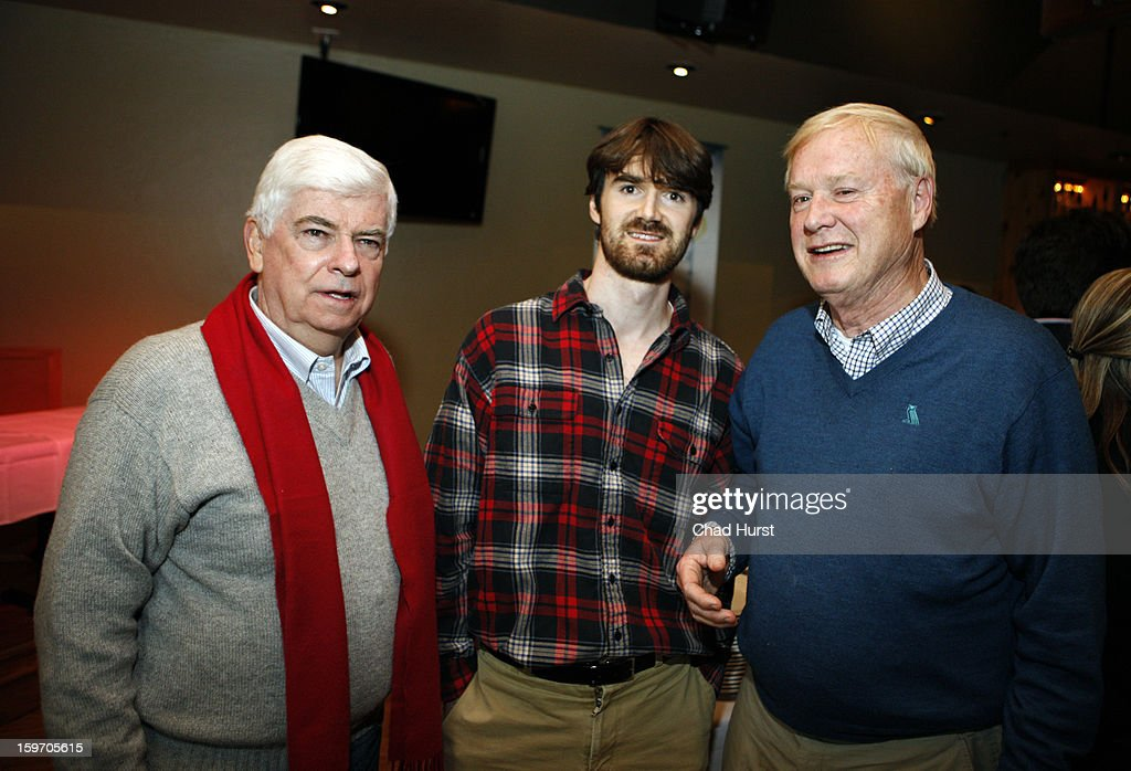 Chairman and CEO of the Motion Picture Association of America Christopher Dodd, producer Michael Matthews and tv personality Chris Matthews attend 'Newlyweeds' Party at Wasatch Brew Pub on January 18, 2013 in Park City, Utah.
