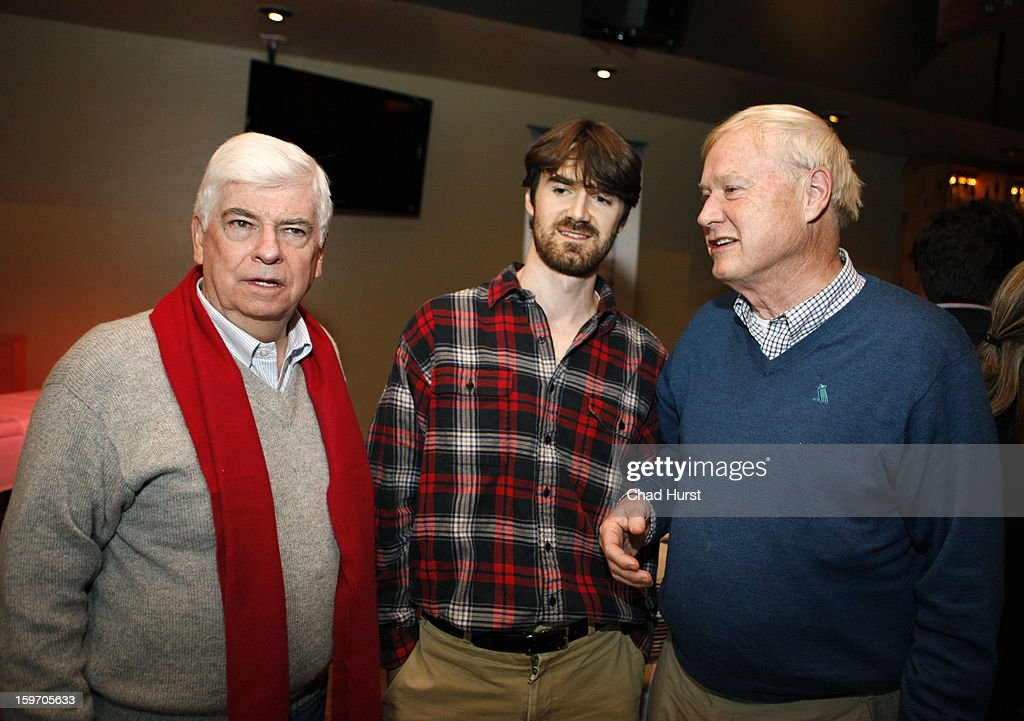 Chairman and CEO of the Motion Picture Association of America <a gi-track='captionPersonalityLinkClicked' href=/galleries/search?phrase=Christopher+Dodd+-+Politician&family=editorial&specificpeople=207036 ng-click='$event.stopPropagation()'>Christopher Dodd</a>, producer Michael Matthews and tv personality <a gi-track='captionPersonalityLinkClicked' href=/galleries/search?phrase=Chris+Matthews+-+Television+Personality&family=editorial&specificpeople=651505 ng-click='$event.stopPropagation()'>Chris Matthews</a> attend 'Newlyweeds' Party at Wasatch Brew Pub on January 18, 2013 in Park City, Utah.