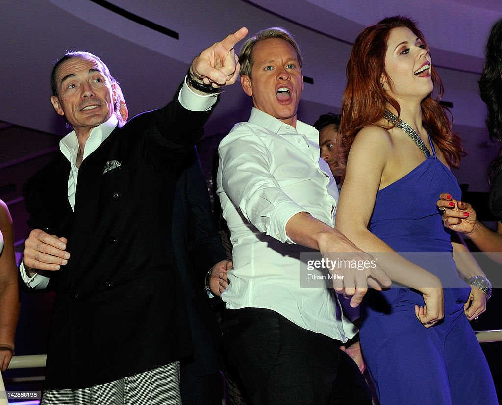 Chairman and CEO of the New Tropicana Las Vegas Inc Alex Yemenidjian television personality Carson Kressley and dancer Anna Trebunskaya attend the...