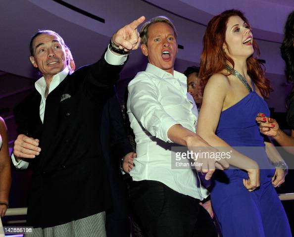 Chairman and CEO of the New Tropicana Las Vegas Inc Alex Yemenidjian television personality Carson Kressley and dancer Anna Trebunskaya attend the...