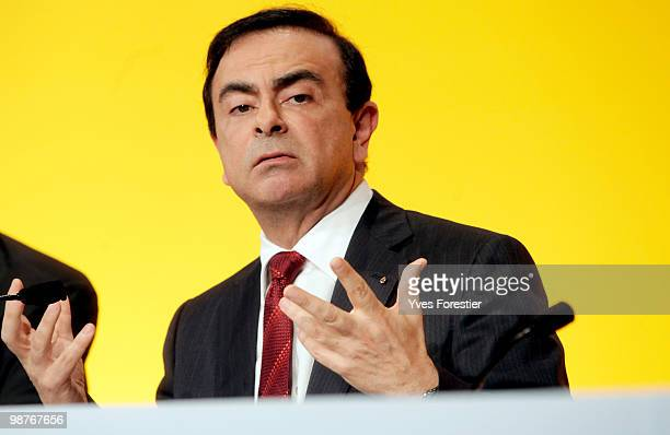 Chairman and CEO of the RenaultNissan Alliance Carlos Ghosn attends a meeting with Renault shareholders at CNIT de La Defense on April 30 2010 in...