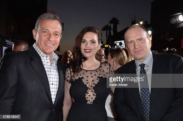 Chairman and CEO of The Walt Disney Company Bob Iger actress Hayley Atwell and President of Production at Marvel Studios Kevin Feige attend the...