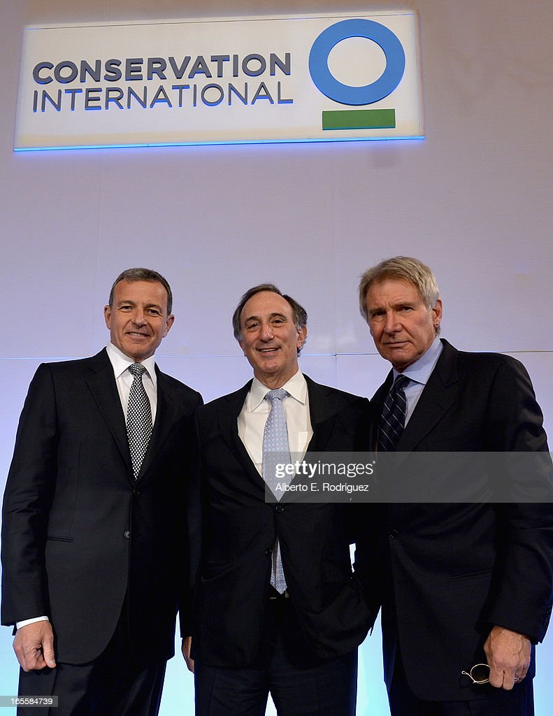 Chairman and CEO of the Walt Disney Company Bob Iger, Chairman and CEO of Conservation International Peter Seligmann and actor Harrison Ford attend Conservation International's 17th Annual Los Angeles Dinner at Montage Beverly Hills on April 4, 2013 in Beverly Hills, California.