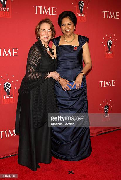 Chairman and CEO of TIME Inc Anne Moore and Chairman and CEO of PepsiCo Inc Indra Nooyi arrive at TIME's 100 Most Influential People Gala at...