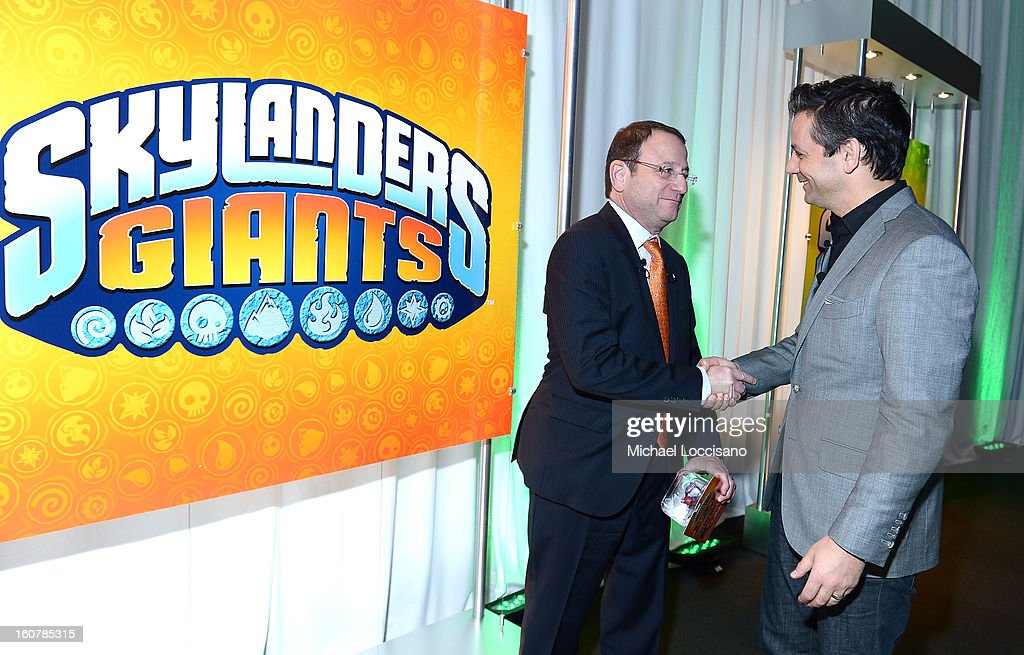 Chairman and CEO of Toys 'R' Us, Inc Jerry Storch and CEO of Activision Publishing Eric Hirshberg attend Activision Reveals Innovative Skylanders SWAP Force at Toy Fair Event at NASDAQ MarketSite on February 5, 2013 in New York City.