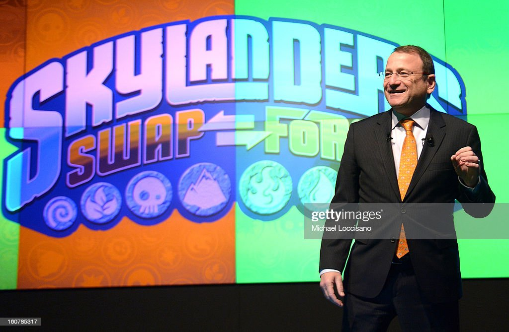 Chairman and CEO of Toys 'R' Us, Inc Jerry Storch speaks as Activision Reveals Innovative Skylanders SWAP Force at Toy Fair Event at NASDAQ MarketSite on February 5, 2013 in New York City.