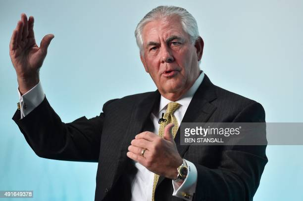 Chairman and CEO of US oil and gas corporation ExxonMobil Rex Tillerson speaks during the 2015 Oil and Money conference in central London on October...