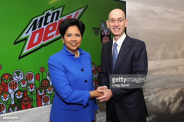 Chairman and CEO PepsiCo Indra Nooyi and NBA comissioner Adam Silver attend the PepsiCo NBA Press Event with Athletes/Celebrities on April 13 2015 in...