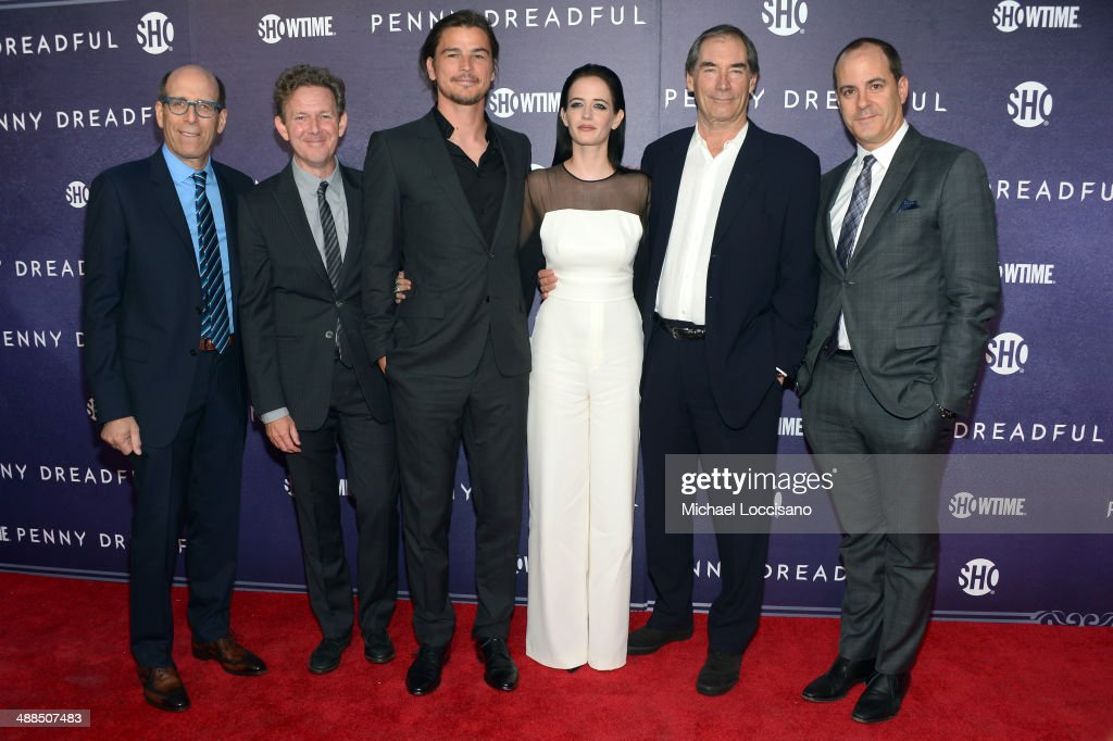 Chairman and CEO, Showtime Networks Inc., Matthew C. Blank, executive producer <a gi-track='captionPersonalityLinkClicked' href=/galleries/search?phrase=John+Logan+-+Playwright&family=editorial&specificpeople=12792463 ng-click='$event.stopPropagation()'>John Logan</a>, actors <a gi-track='captionPersonalityLinkClicked' href=/galleries/search?phrase=Josh+Hartnett&family=editorial&specificpeople=206503 ng-click='$event.stopPropagation()'>Josh Hartnett</a>, <a gi-track='captionPersonalityLinkClicked' href=/galleries/search?phrase=Eva+Green&family=editorial&specificpeople=211151 ng-click='$event.stopPropagation()'>Eva Green</a>, <a gi-track='captionPersonalityLinkClicked' href=/galleries/search?phrase=Timothy+Dalton&family=editorial&specificpeople=655259 ng-click='$event.stopPropagation()'>Timothy Dalton</a> and President of Showtime Networks Inc., David Nevins attend Showtime's 'PENNY DREADFUL' world premiere at The High Line Hotel on May 6, 2014 in New York City.