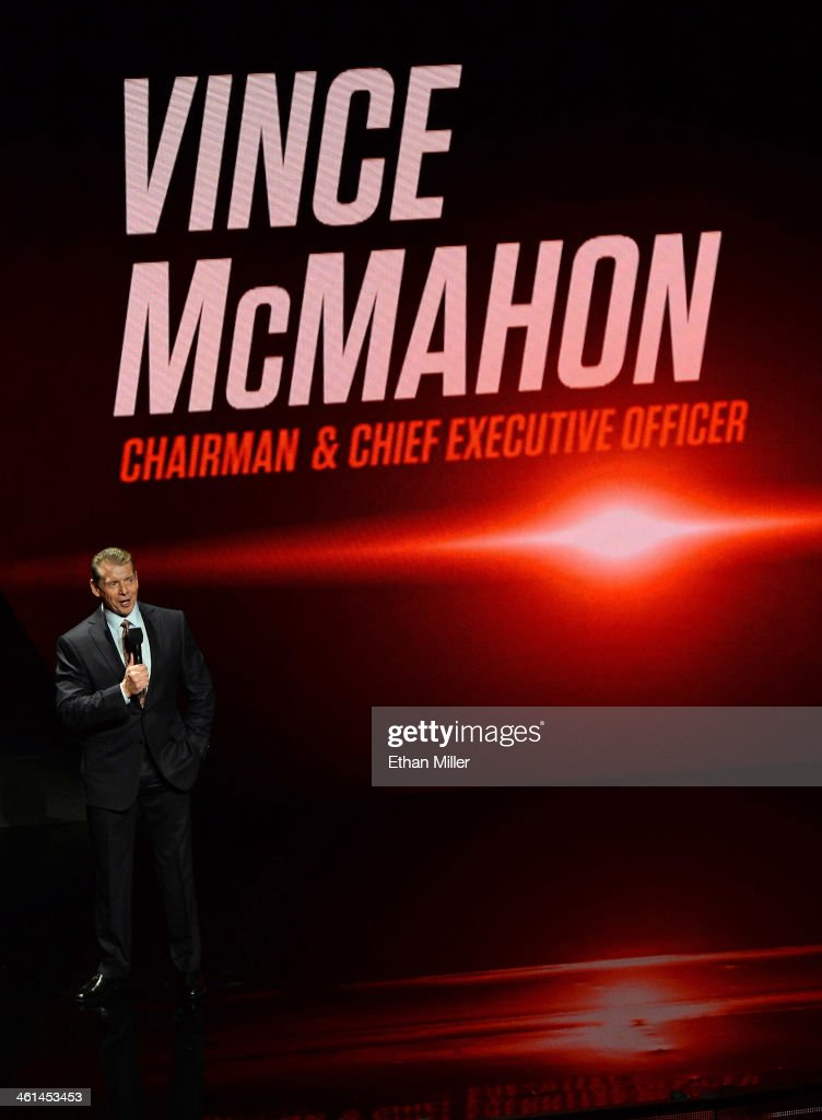 Chairman and CEO Vince McMahon speaks at a news conference announcing the WWE Network at the 2014 International CES at the Encore Theater at Wynn Las Vegas on January 8, 2014 in Las Vegas, Nevada. The network will launch on February 24, 2014 as the first-ever 24/7 streaming network, offering both scheduled programs and video on demand. The USD 9.99 per month subscription will include access to all 12 live WWE pay-per-view events each year. CES, the world's largest annual consumer technology trade show, runs through January 10 and is expected to feature 3,200 exhibitors showing off their latest products and services to about 150,000 attendees.