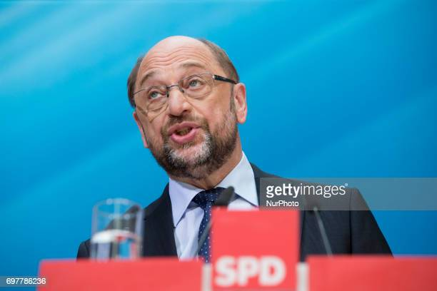 Chairman and Chancellor candidate of the Social Democratic Party Martin Schulz is pictured during a news conference to present a tax concept for the...