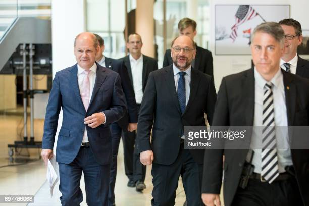 Chairman and Chancellor candidate of the Social Democratic Party Martin Schulz and Vice SPD chairmans Thorsten SchaeferGuembel and Hamburg's Mayor...