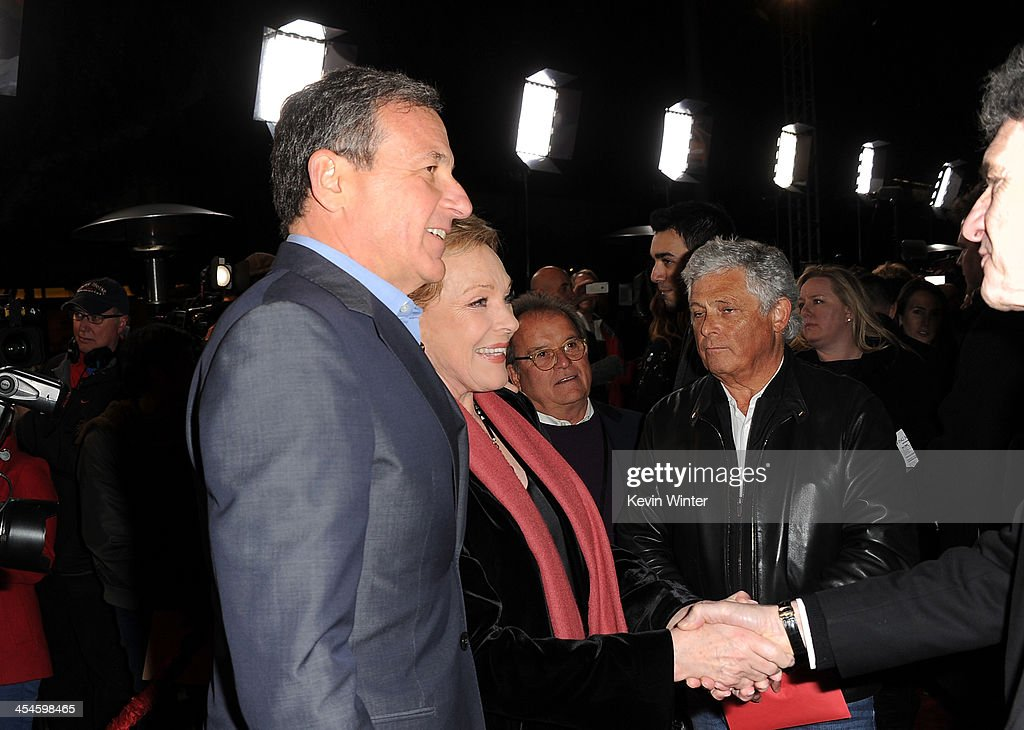 Chairman and Chief Executive of The Walt Disney Company Bob Iger, actress Julie Andrews and Chairman of the Walt Disney Studios Alan Horn attend the U.S. premiere of Disney's 'Saving Mr. Banks', the untold backstory of how the classic film 'Mary Poppins' made it to the screen, at the Walt Disney Studios on December 9, 2013 in Burbank, California. The film opens this Holiday season.