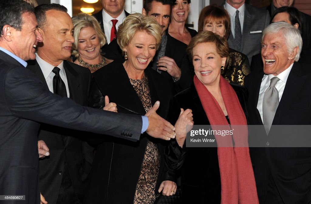 Chairman and Chief Executive of The Walt Disney Company Bob Iger, actors Tom Hanks, Emmat Thompson, Julie Andrews and Dick Van Dyke attend the U.S. premiere of Disney's 'Saving Mr. Banks', the untold backstory of how the classic film 'Mary Poppins' made it to the screen, at the Walt Disney Studios on December 9, 2013 in Burbank, California. The film opens this Holiday season.