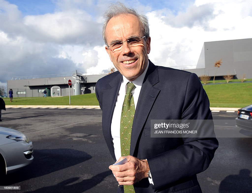 Chairman and Chief Executive Officer of French auto parts maker Faurecia, Yann Delabriere, poses outside his company in Caligny, northwestern France, on March 18, 2013.