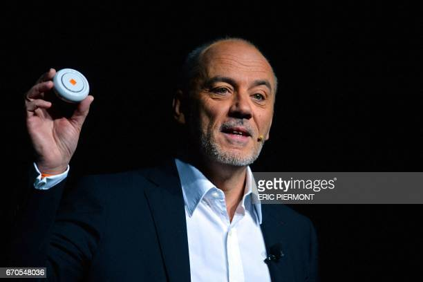 Chairman and Chief Executive Officer of French Telecoms Group Orange Stephane Richard speaks during Orange's annual innovation 'Show Hello' on April...