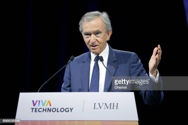 Chairman and chief executive officer of LVMH Moet Hennessy Louis Vuitton SE Bernard Arnault delivers a speech during the Viva Technology show on June...