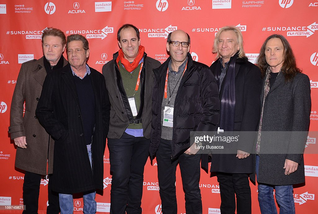 Chairman and Chief Executive Officer of Showtime Networks Inc. Matthew Blank and David Nevins, President of Entertainment of Showtime Networks Inc. (C) poses with (L-R) musicians Don Henley, Glenn Frey, Joe Walsh and Timothy B. Schmit of The Eagles at the 'History of the Eagles Part 1' premiere and Q&A during the 2013 Sundance Film Festival at Eccles Theater on January 19, 2013 in Park City, Utah.