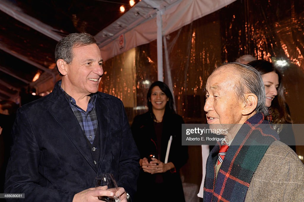 Chairman and Chief Executive Officer, The Walt Disney Company <a gi-track='captionPersonalityLinkClicked' href=/galleries/search?phrase=Bob+Iger&family=editorial&specificpeople=171211 ng-click='$event.stopPropagation()'>Bob Iger</a> (L) and animator Milton Quon attend the 90 Years of Disney Animation celebration at Walt Disney Studios on December 10, 2013 in Burbank, California.
