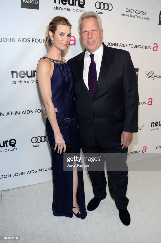 Chairman and Executive Vice President of New York Giants Steve Tisch (R) attends the 21st Annual Elton John AIDS Foundation Academy Awards Viewing Party at West Hollywood Park on February 24, 2013 in West Hollywood, California.
