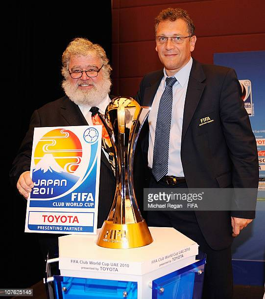 Chairman and FIFA Executive Committee member Chuck Blazer and Jerome Valcke FIFA Secretary General reveal the logo for the 2011 FIFA Club World Cup...