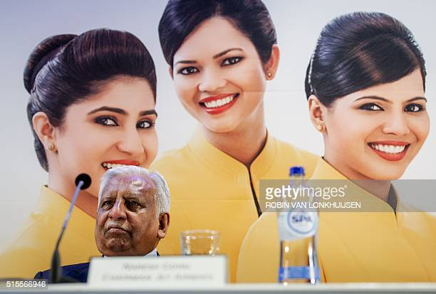 Chairman and founder of Indian airline Jet Airways Naresh Goyal attends a press conference on the inauguration of Jet Airways at Schiphol Airport in...
