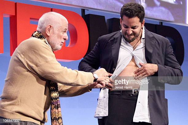 Chairman and Founder Richard Saul Wurman pulls a piece of surgical thread out of Magician David Blaine's skin during a performance at TEDMED on...