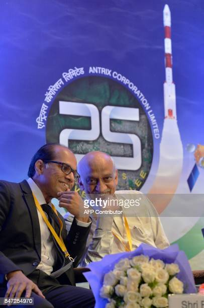 Chairman and Managing Director of Antrix Corporation Limited Rakesh S and Chairman of the Indian Space Research Organisation AS Kiran Kumar take part...
