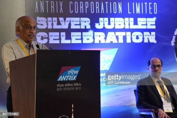 Chairman and Managing Director of Antrix Corporation Limited Rakesh S looks on while Chairman of Indian Space Research Organisation AS Kiran Kumar...