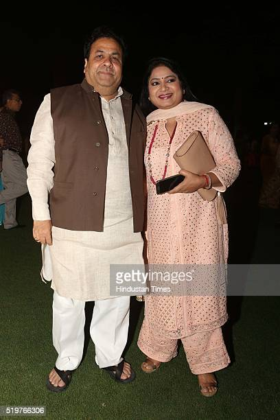 Chairman and MP Rajeev Shukla with his wife Anuradha Prasad during a party hosted to congratulate singer Malini Awasthi on her recent Padma honour at...