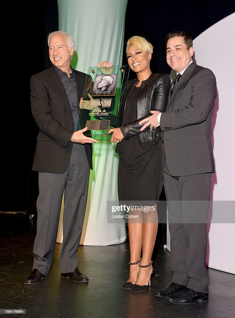 Chairman and President Cary Sherman, singer Emeli Sande, and NARM president Jim Donio onstage during the 2013 Music Biz Awards presented by NARM and Musicbiz.org at the Hyatt Regency Century Plaza on May 9, 2013 in Los Angeles, California.