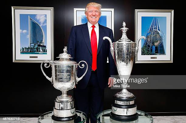 Chairman and President of the Trump Organization Donald Trump poses for a photo prior to a press conference to announce a PGA and Trump Partnership...