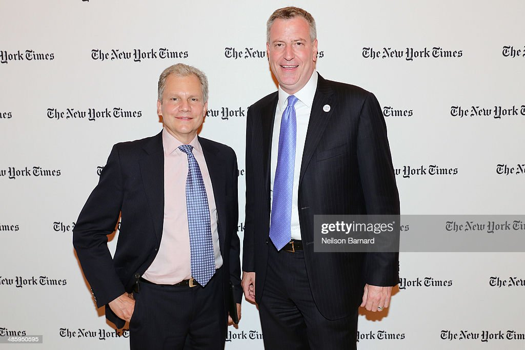 Chairman and Publisher of The New York Times Company Arthur Sulzberger Jr and Mayor of New York City Bill de Blasio attend the cocktail reception for...