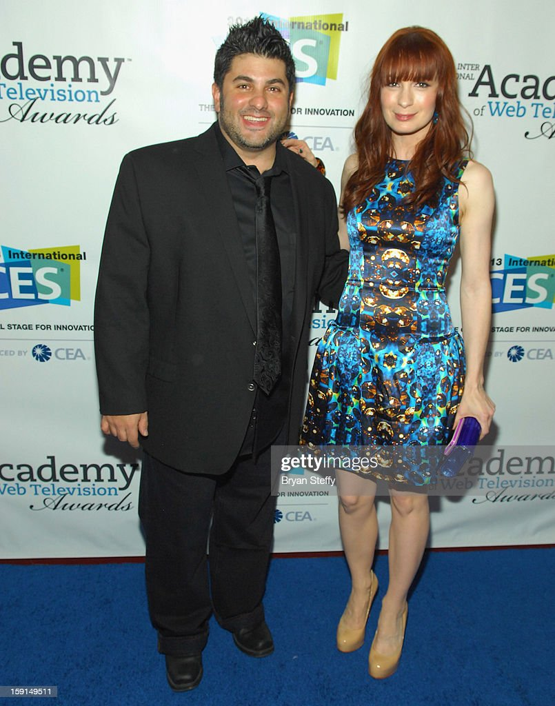 Chairman and VP Group Director Brand Content at Third Act Paul Kontonis (L) and actress Felicia Day arrive at the IAWTV Awards at the CES 2013 Show at the Palazzo Theater at the Palazzo Resort Hotel/Casino on January 8, 2013 in Las Vegas, Nevada.