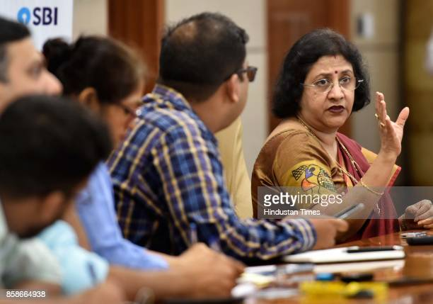 Chairman Arundhati Bhattacharya during a press conference on October 6 2017 in Mumbai India Asset quality stress in India's banking sector has...