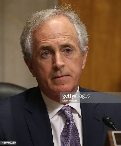 Chairman Bob Corker participates in a Senate Foreign relations Committee hearing on Capitol Hill March 10 2015 in Washington DC The committee was...