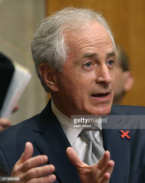 Chairman Bob Corker questions Secretary of State John Kerry during a Senate Foreign Relations Committee hearing on Capitol Hill February 23 2016 in...
