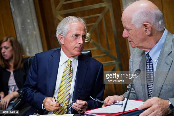 Chairman Bob Corker RTenn left and Ranking Member Ben Cardin DMd prepare for a Senate Foreign Relations Committee hearing in Dirksen Building titled...
