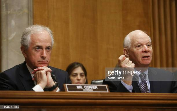 Chairman Bob Corker sits as Sen Benjamin Cardin speaks at a Senate Foreign Relations Committee hearing on the US Russian relationship on Capitol Hill...