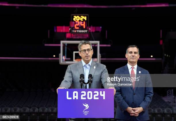Chairman Casey Wasserman and Los Angeles Mayor Eric Garcetti hold a wrap up news conference following the three day visit by IOC Evaluation...