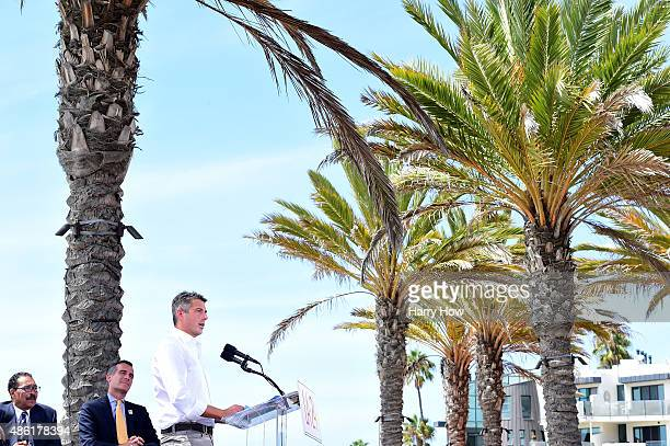 Chairman Casey Wasserman watched by Los Angeles Mayor Eric Garcetti LA City Cuncil President Herb Wesson speaks at a press conference to officially...