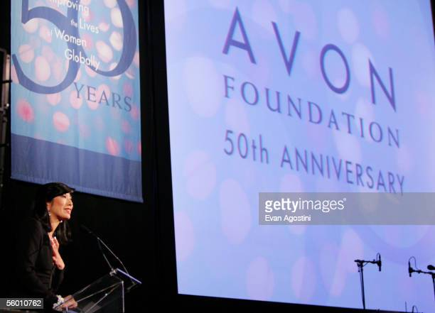 Chairman CEO Avon Products Inc Andrea Jung speaks at Avon Foundation's 50th Anniversary Awards Celebration held at The American Museum of Natural...