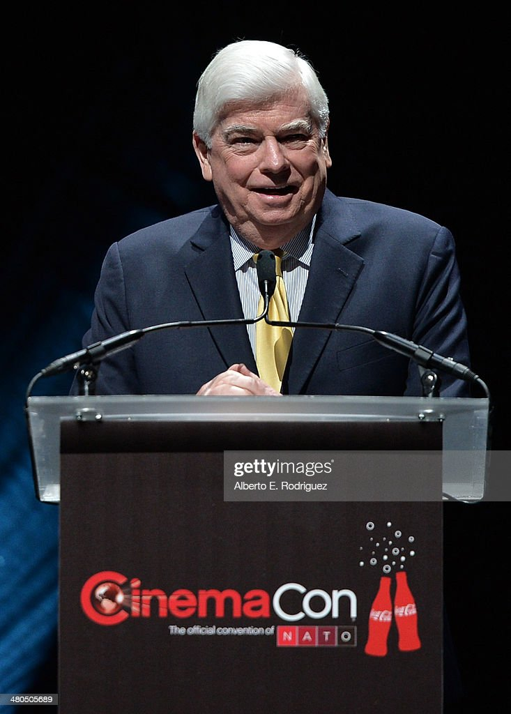 Chairman & CEO, MPAA, Senator Chris Dodd speaks onstage during The State of the Industry: Past, Present and Future and Universal Studios Presentation at The Colosseum at Caesars Palace during CinemaCon, the official convention of the National Association of Theatre Owners, on March 25, 2014 in Las Vegas, Nevada.