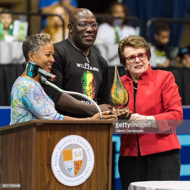 Chairman CEO President Katrina Adams and Tennis legend Billie Jean King present the Billie Jean King Freedom Award to Dr Franklyn Scott of the...