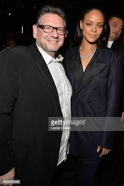 Chairman CEO UMG Lucian Grainge and recording artist Rihanna attend Universal Music Group 2015 Grammy After Party presented by American Airlines and...